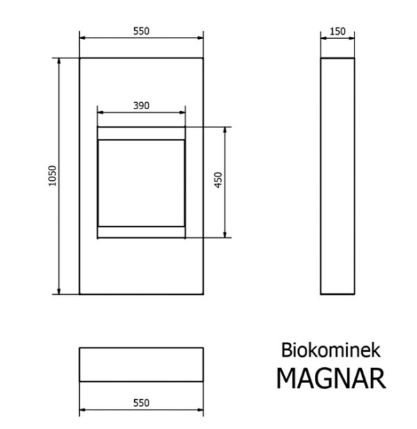 Биокамин Dekorta <br> Magnar белый со стеклом