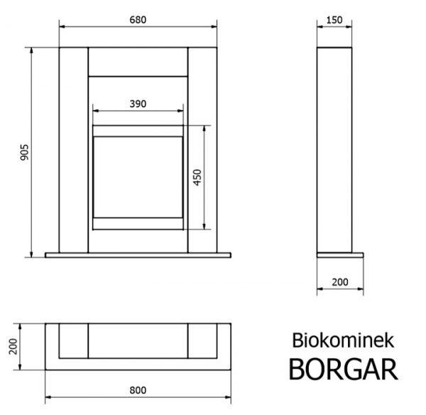 Биокамин Dekorta <br> Borgar белый со стеклом